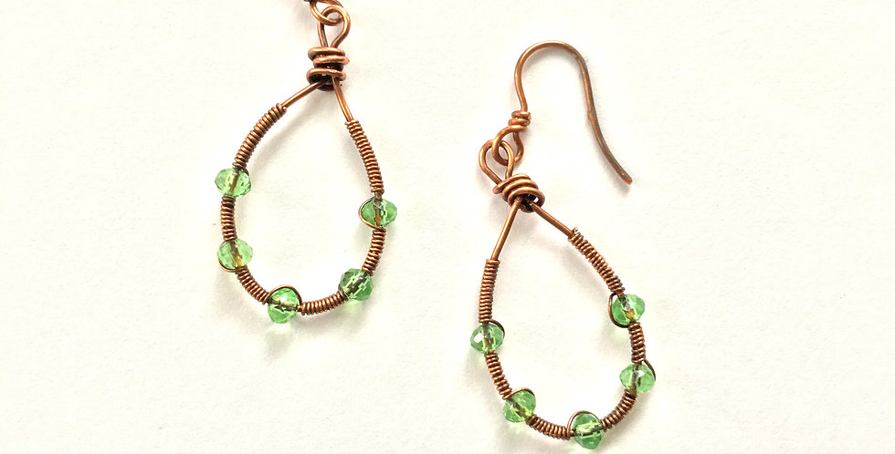 Green Glass Beads in Coiled Copper Loops