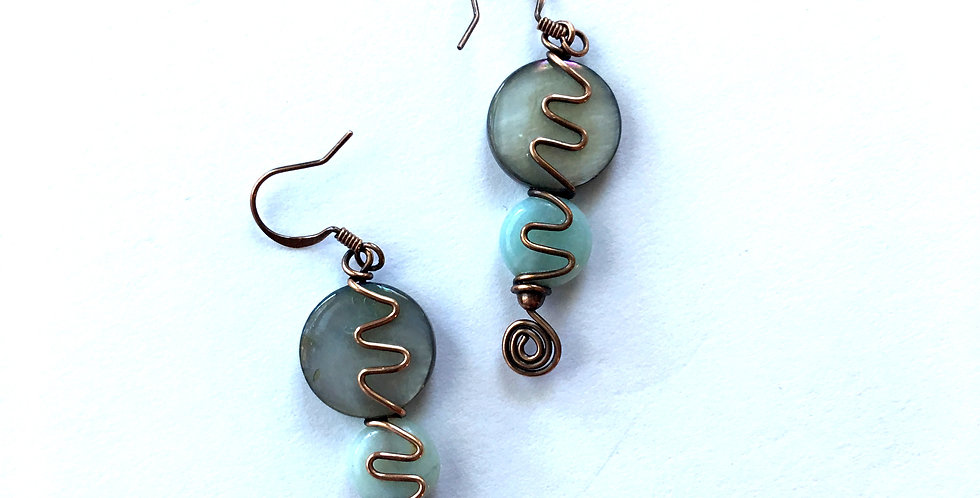 Abalone, Amazonite & Copper Squiggles