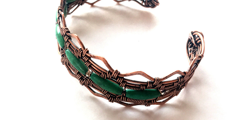 Turquoise Beads in Woven Copper Cuff
