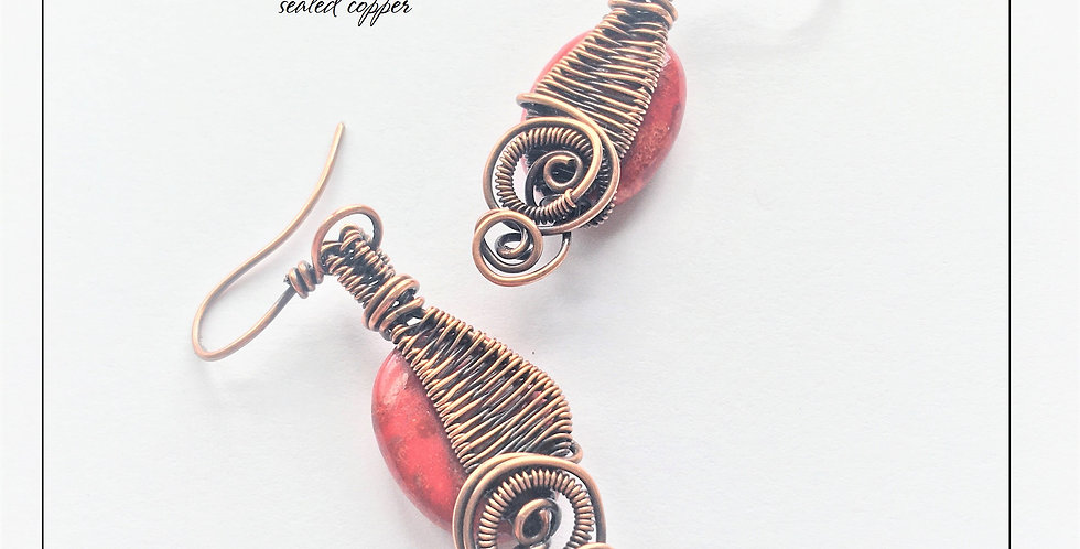 Coral Beads in Woven Copper