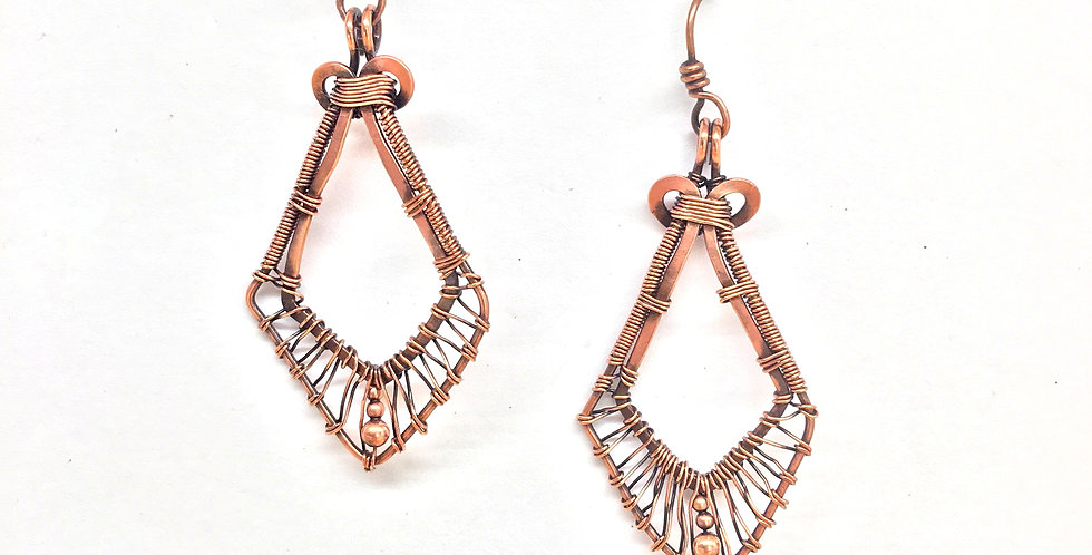 Hammered Copper & Wire Diamond shaped Earrings