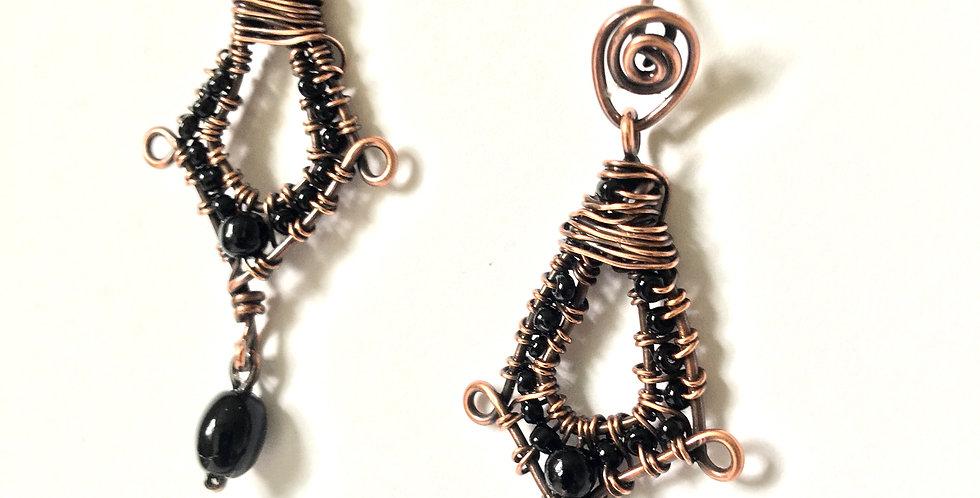 Black Beads woven in Copper Diamond Shape