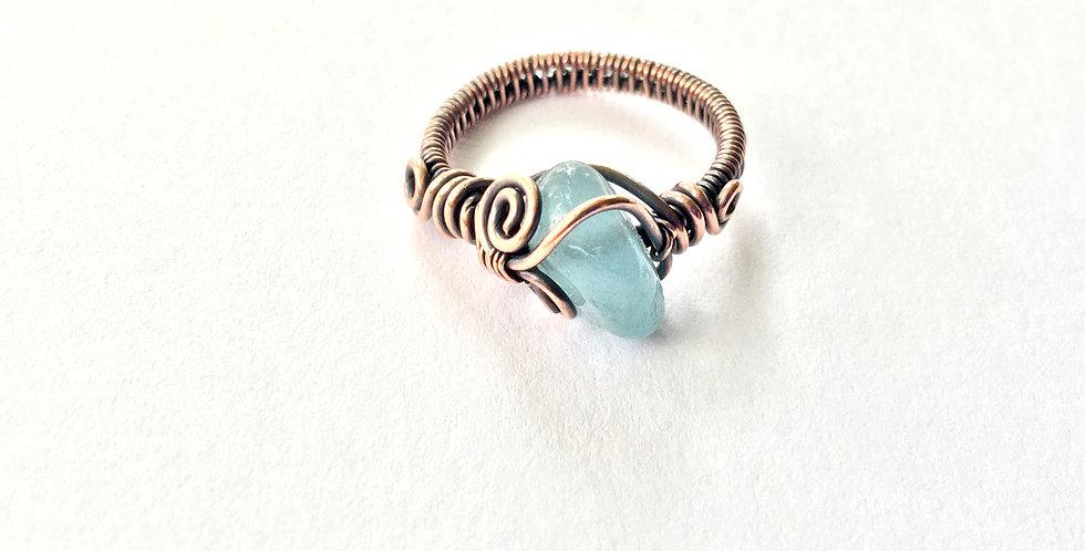 Aquamarine Nugget Ring Sz 6
