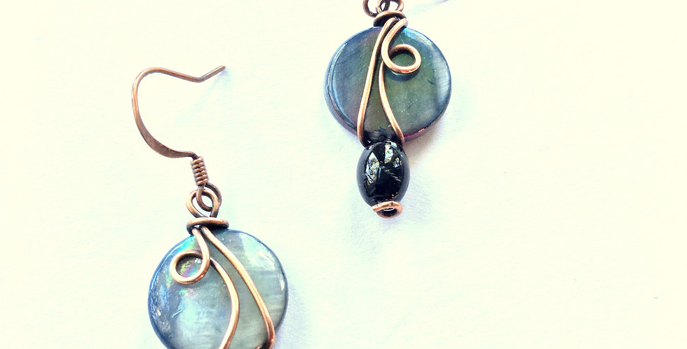Abalone, Black Glass & Copper Squiggles