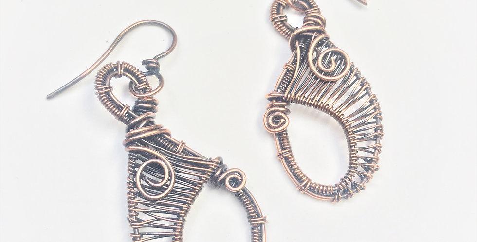 Medium Copper Weave Teardrops