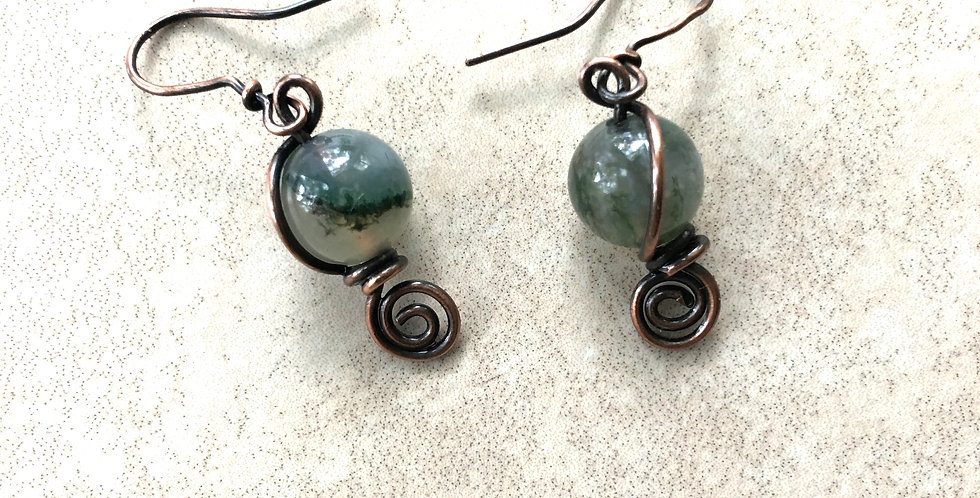 Moss Agate Beads & Spriral