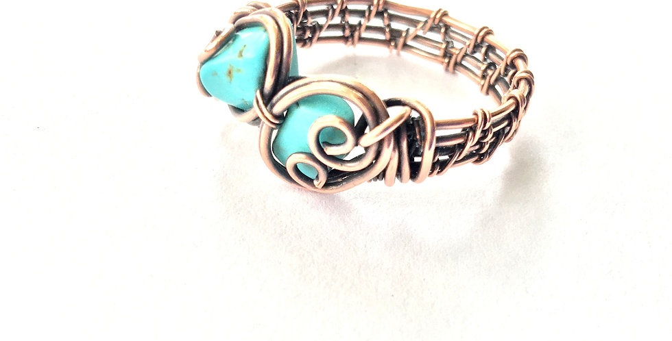 Turquoise 2 Chip Ring Sz 8 1/2