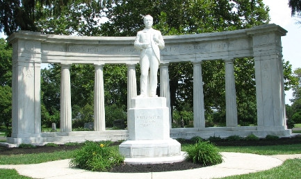 The memorial to Peter J. McGuire, founder of Labor Day, in Arlington Cemetery in Pennsauken, NJ