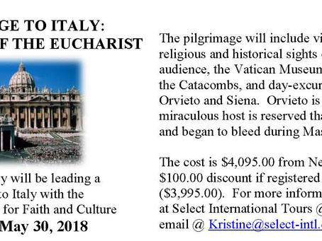 Inspiration of the Eucharist: A Pilgrimage to Italy