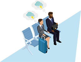 Illustration of two business travellers unhappy amidst cancellations and delays