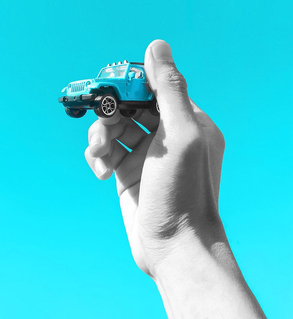 tiny blue car