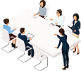 Group meeting around a table illustration