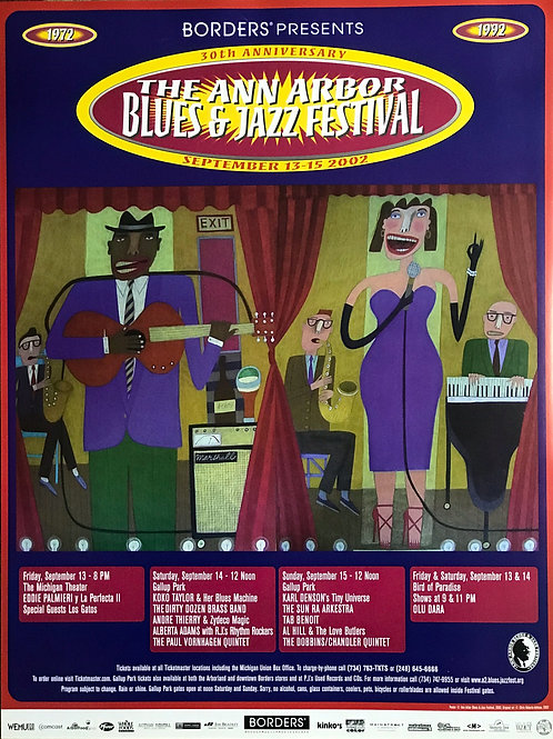 30th Anniversary Ann Arbor Blues & Jazz Festival Concert Poster (2002) Original