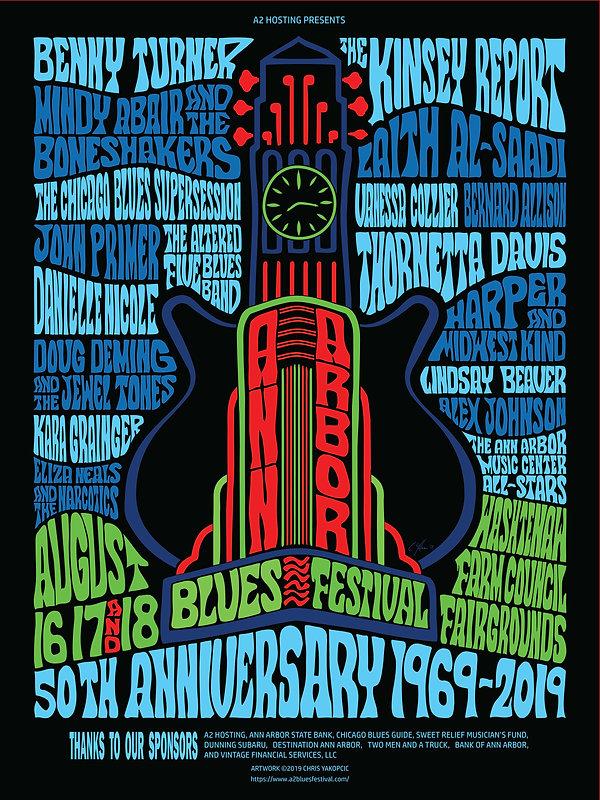 2019 Ann Arbor Blues Festival Poster - P