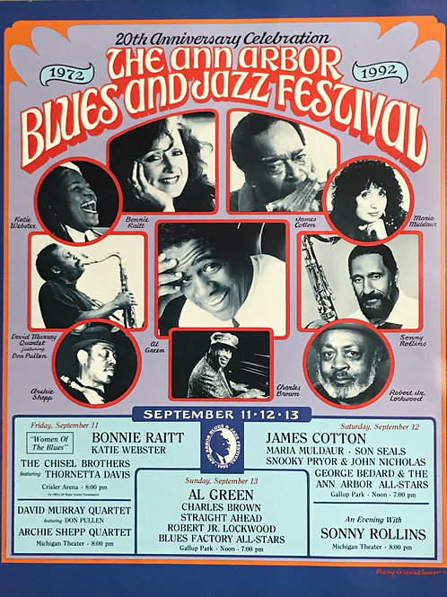 20th Anniversary Ann Arbor Blues & Jazz Festival Concert Poster (1992) Original