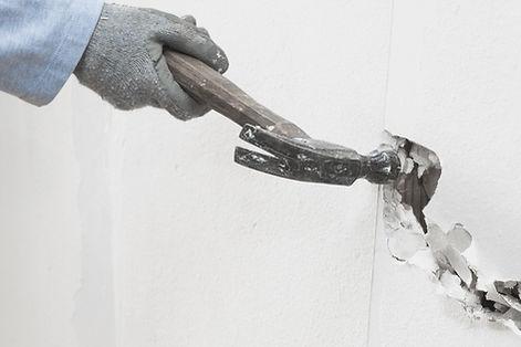 demolición de la pared