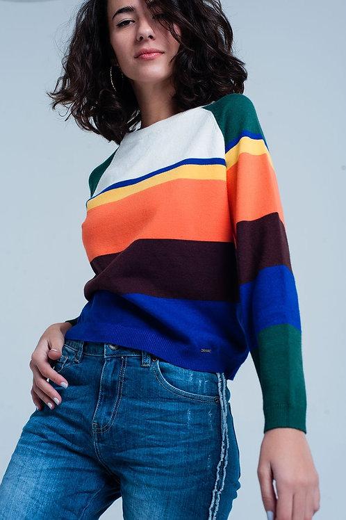 Blue Multi Colored Striped Sweater