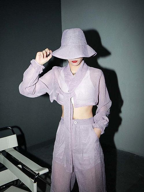 Chiharu Long Sleeve Glove Shirt - Purple