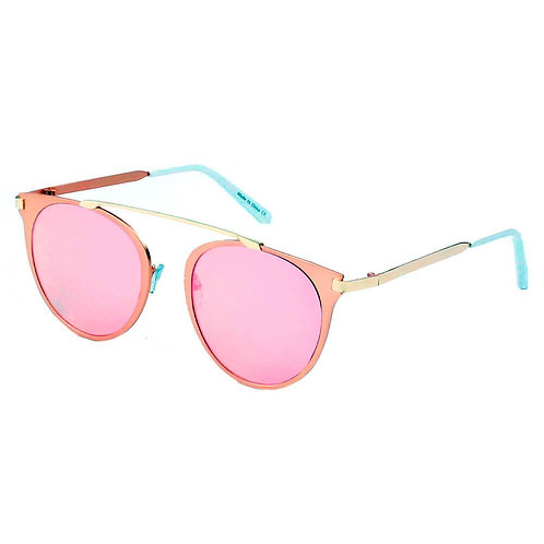 FRISCO | A18 - Modern Horn Rimmed Metal Frame Round Sunglasses