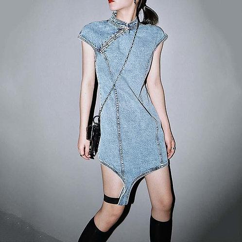 Ruqa Irregular Denim Dress