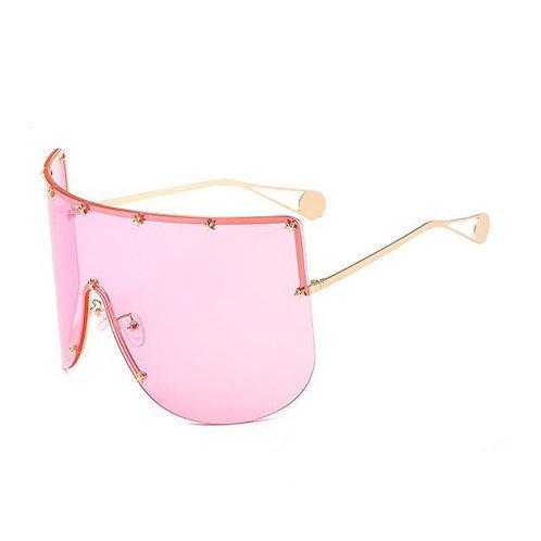 Elaiza Oversized Sunglasses - Gold Pink
