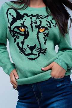 Light-Green-Knitted-Sweater-with-Leopard