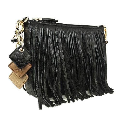 Willow Fringe Leather Handbag -Midnight Black
