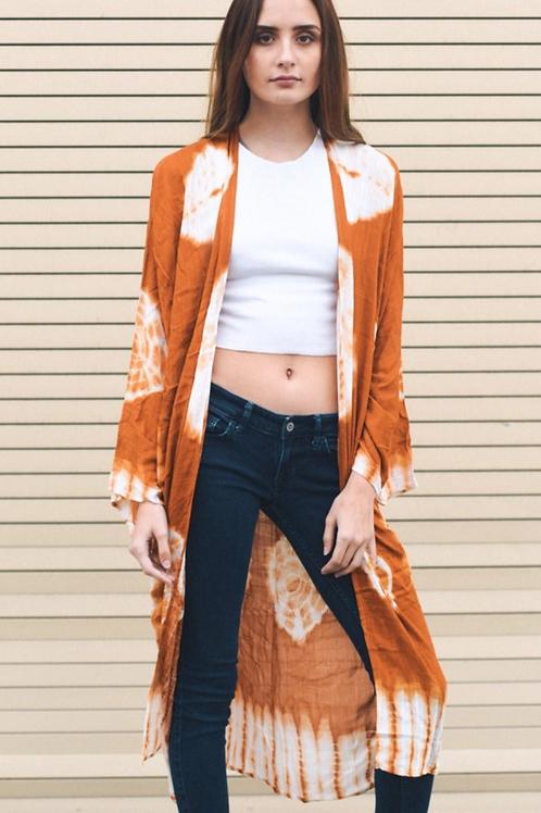 Rust Boho Tie Dye Long Kimono