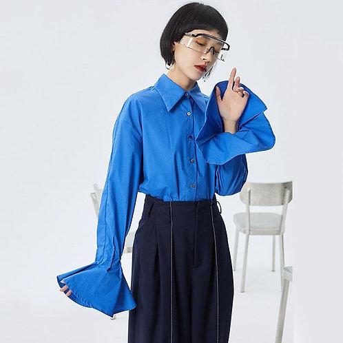 Leena Pleated Long Sleeve Shirt - Blue