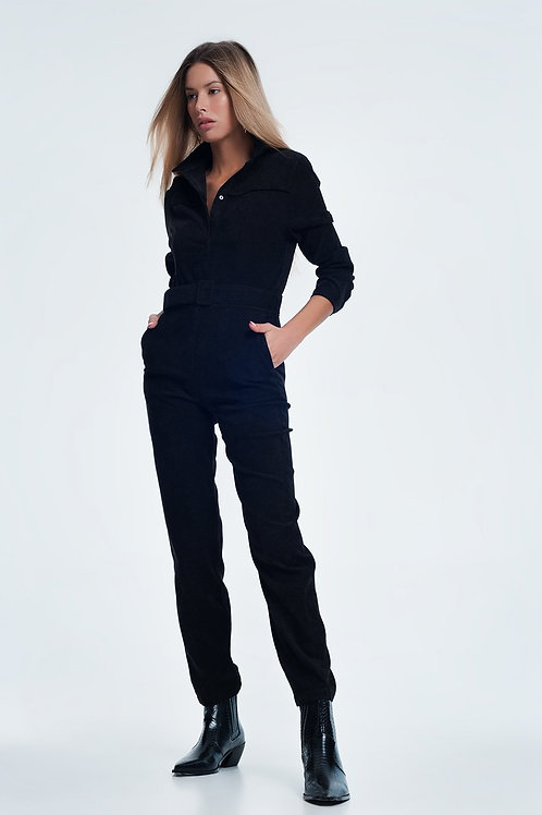 Cord Utility Jumpsuit in Black