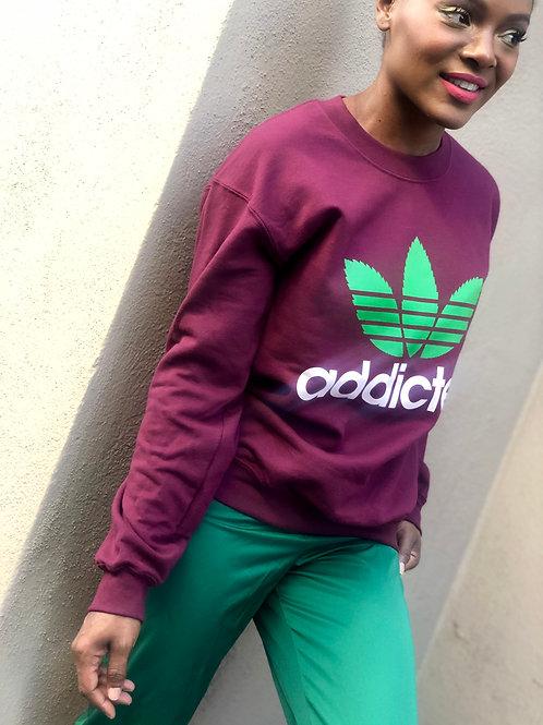 Iconic Unisex Green and Maroon Addicted Long Sleeve Sweater Shirt.