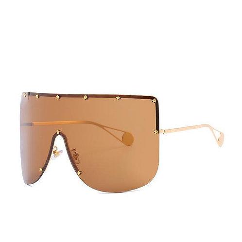 Elaiza Oversized Sunglasses - Gold Brown