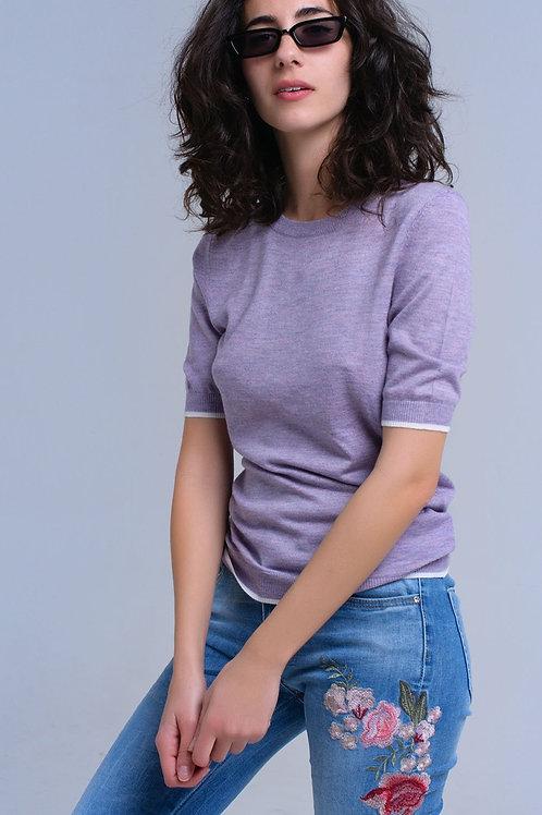 Purple Short Sleeves Sweater