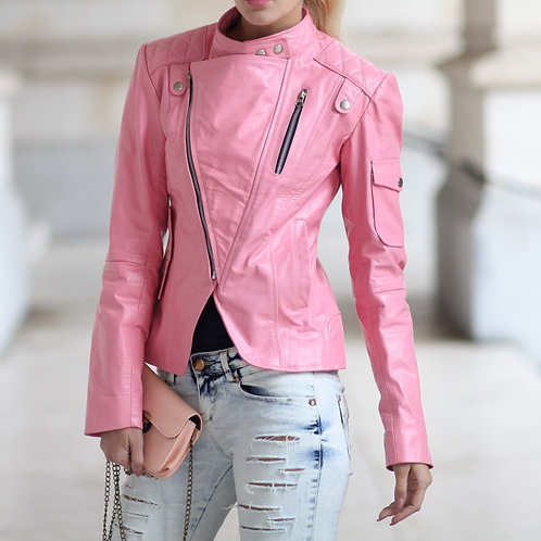 Fitted Pink Handmade Leather Jacket