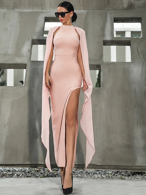 Pink High Slit Dress w/Cape Shoulders