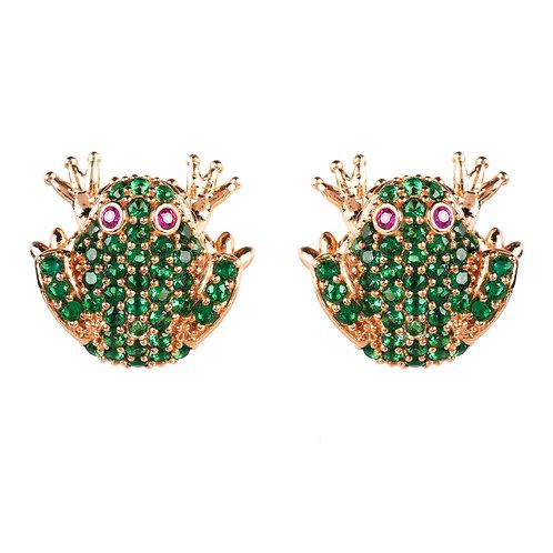 Frog Prince Stud Earrings Rosegold