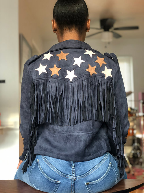 Carnival Star Jacket with multi colored stars / fringe back and arms sleeves.