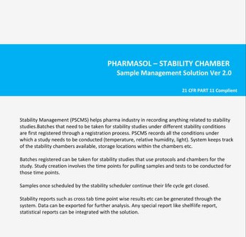 Stability Schedule Management and Tracking Software