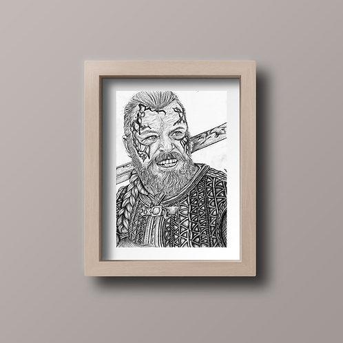 Original Harald Finehair Vikings Drawing A4 Signed