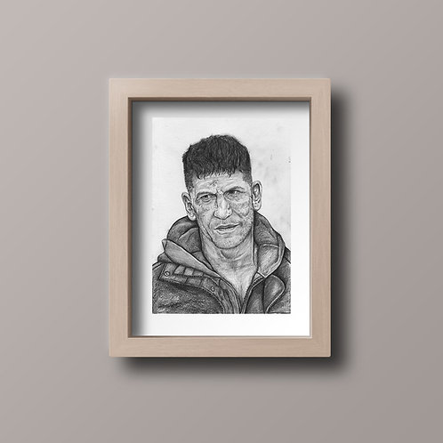 Original The Punisher Jon Bernthal Drawing A4 Signed