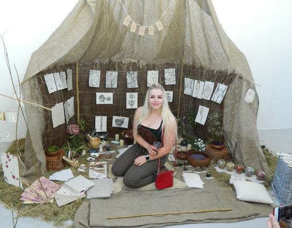 The artist in the installation