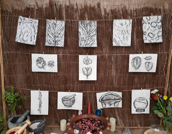 Organic charcoal ink on mulberry paper studies