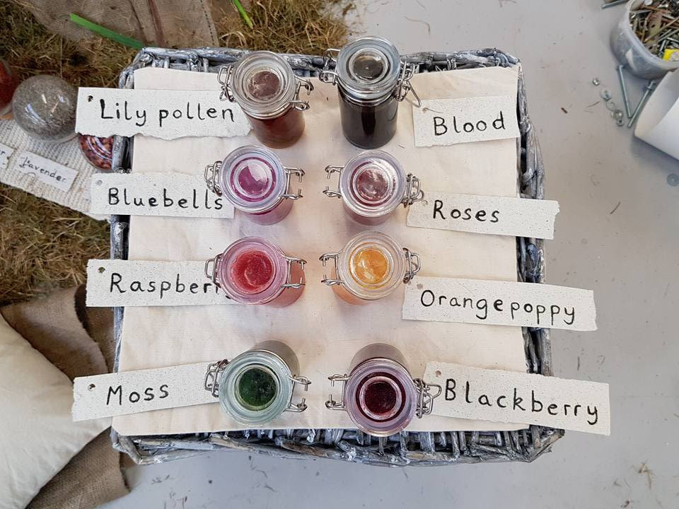 Organic inks with corresponding labels made with organic charcoal ink on mulberry paper