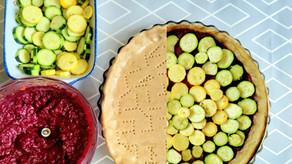 Tarte ultra colorée, betterave - courgettes