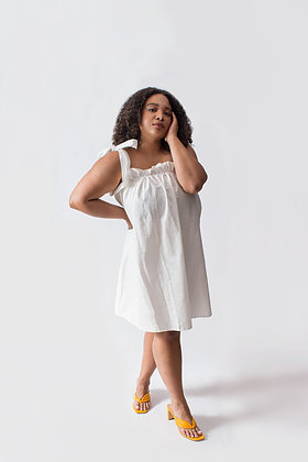 Paloma Shoulder Tie Dress White
