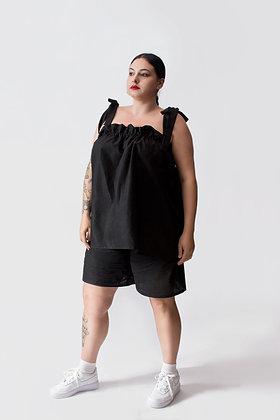 Luella Shoulder Tie Top Black