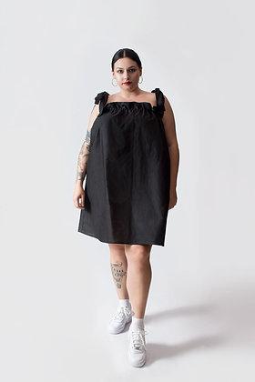 Paloma Shoulder Tie Dress Black