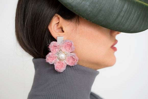Handmade Pink Flowers Earrings