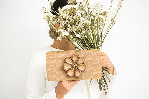 Cream Handmade Fancy Flower Clutch