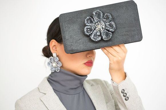 Black Handmade Fancy Flower Clutch